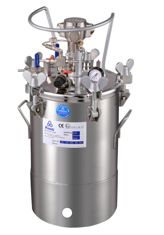 Drucktank aus Edelstahl 40 Liter mit pneumatischem Rührwerk