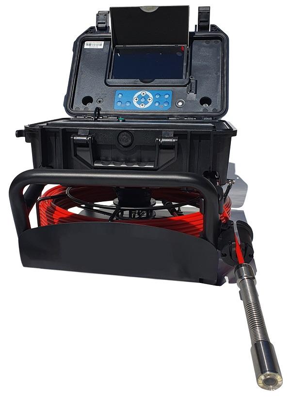 """All-in-One Video-Rohrinspektionskamera mit 30m-Glasfaserkabel und 7"""" Monitor mit DVR-Funktion"""